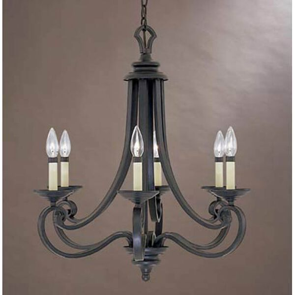 Messina Natural Iron Six-Light Chandelier, image 1