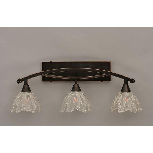 Bow Black Copper Three-Light Bath Bar w/ 7-Inch Italian Ice Glass, image 1
