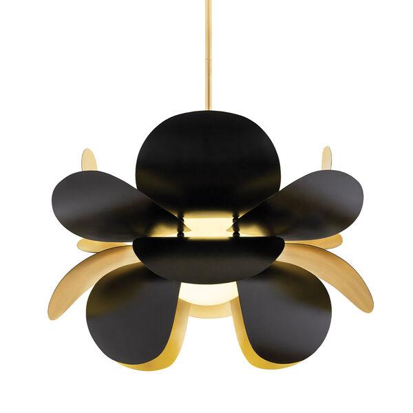 Ginger Gold Leaf and Black One-Light Pendant, image 1