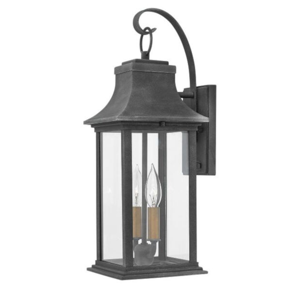 Adair Aged Zinc Seven-Inch Two-Light Led Outdoor Wall Mount, image 1