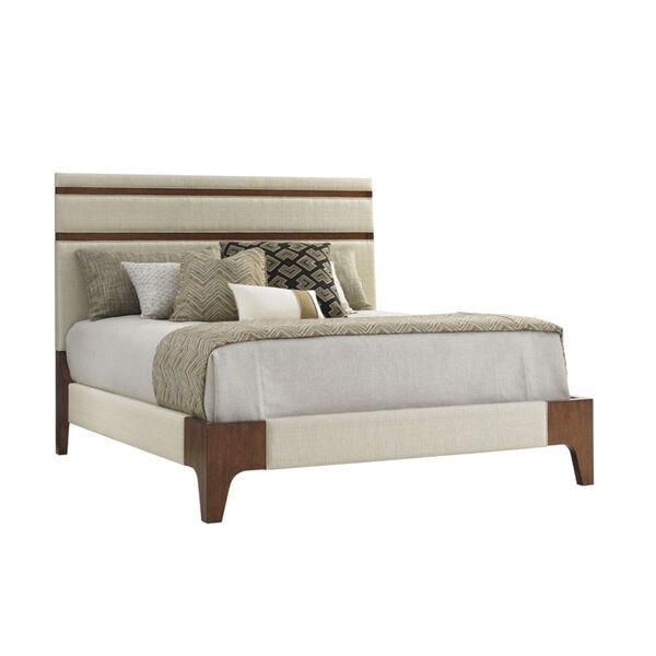 Island Fusion Brown and Ivory Mandarin Upholstered Panel Bed, image 1