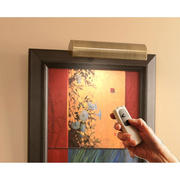 Slimline Antique Brass 8 Inch Cordless LED Remote Control Picture Light, image 1