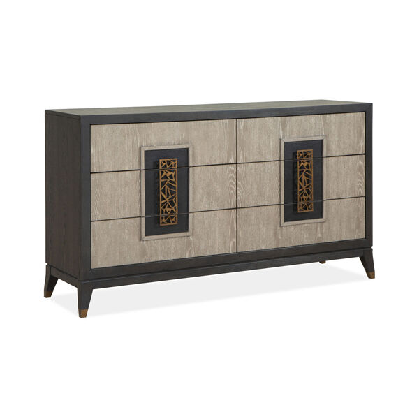 Ryker Nocturn Black and Coventry Gray Double Drawer Dresser, image 1