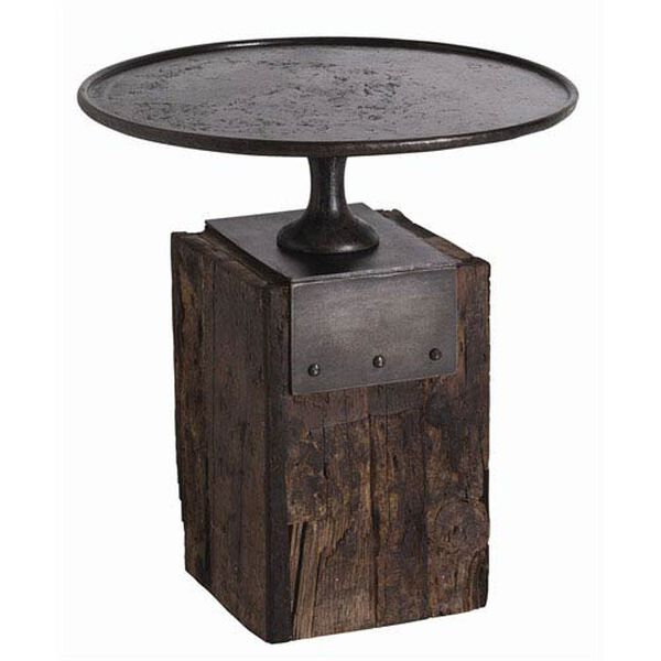 Anvil Cast Iron and Reclaimed Wood Side Table, image 1