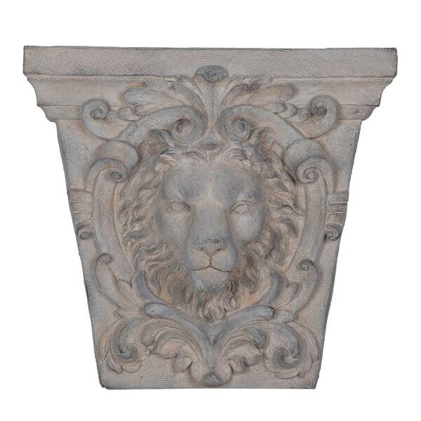 Gray 22-Inch Lions Head Outdoor Wall Decor, image 1