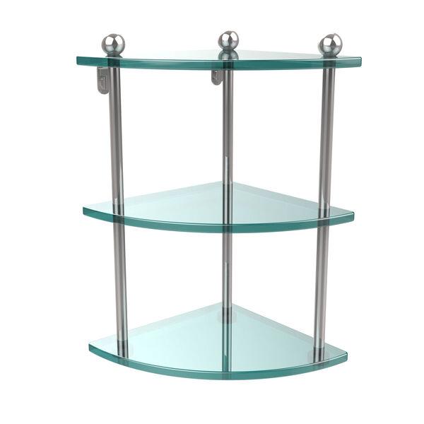 Prestige Regal Polished Chrome Triple Glass Corner Shelf, image 1