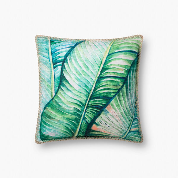 Green Polyester 18 In. x 18 In. Throw Pillow Cover with Down, image 1