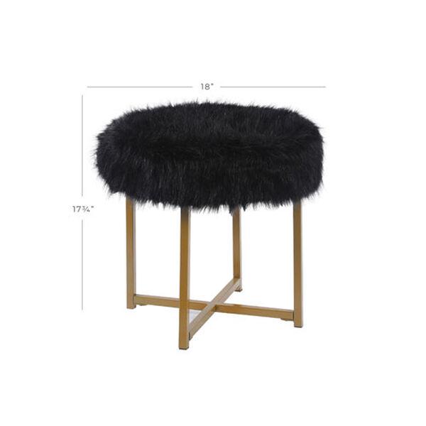 Faux Fur Round Ottoman - Black, image 6
