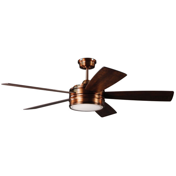 Braxton Brushed Copper Ceiling Fan with LED Light, image 1
