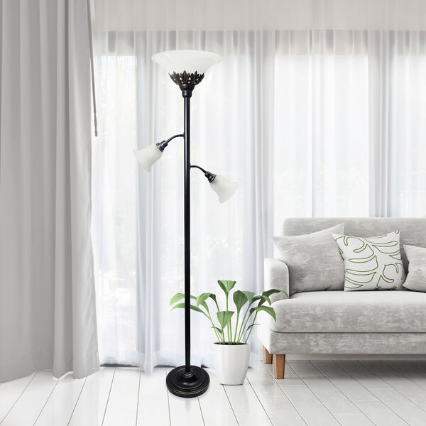 Quince Restoration Bronze Three-Light Floor Lamp with White Shade, image 4