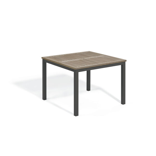 Travira Vintage Tekwood Top and Carbon Powder Coated Aluminum Frame 39-Inch Square Dining Table, image 1