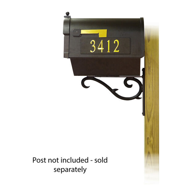 Curbside Black Mailbox with Front and Side Address Numbers and Sorrento Front Single Mounting Bracket, image 3