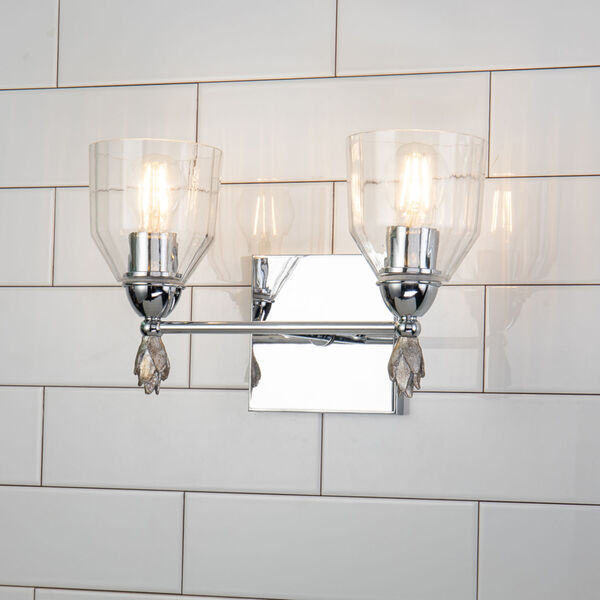 Fun Finial Polished Chrome Silver Two-Light Wall Sconce, image 3