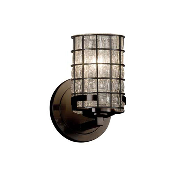 Wire Glass - Atlas Dark Bronze LED LED Wall Sconce with Cylinder Flat Rim Grid with Clear Bubbles Shade, image 1
