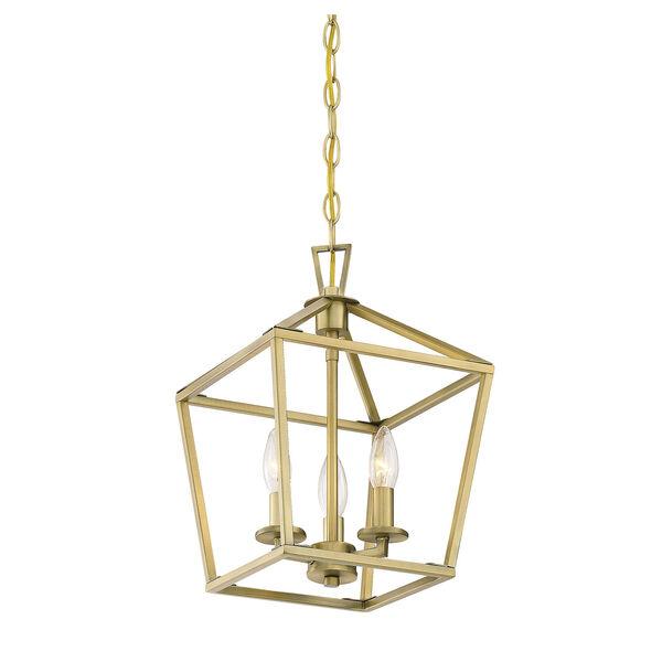 Townsend Warm Brass 10-Inch Three-Light Pendant, image 4