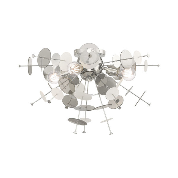 Circulo Polished Chrome 24-Inch Four-Light Ceiling Mount with Chrome Discs and Glass Discs, image 1