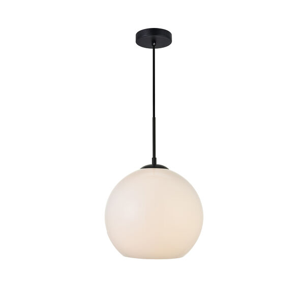 Baxter Black and Frosted White 11-Inch One-Light Pendant, image 1
