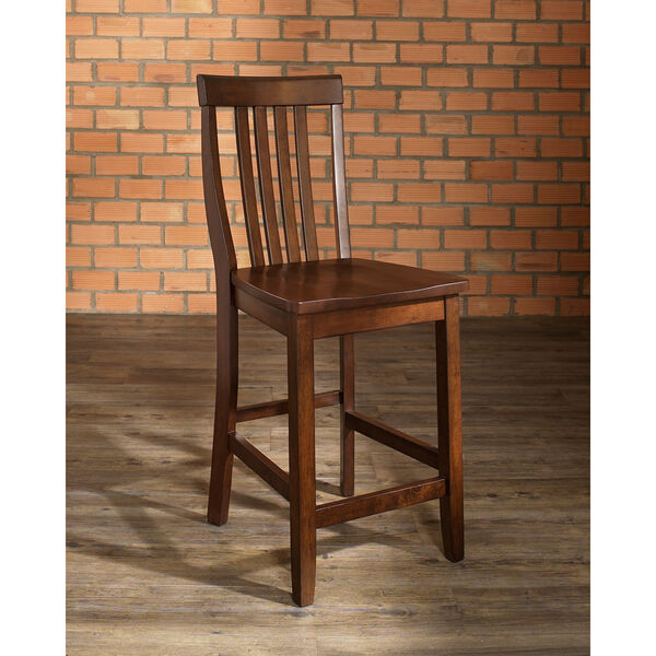 School House Bar Stool in Vintage Mahogany Finish with 24 Inch Seat Height- Set of Two, image 5