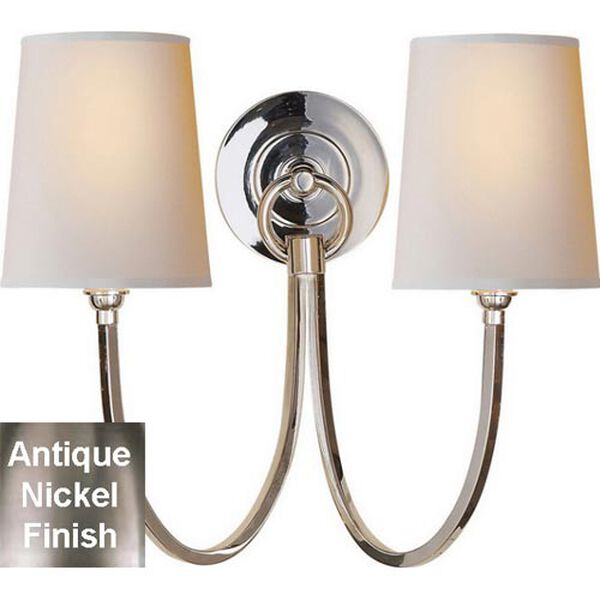 Reed Double Sconce in Antique Nickel with Natural Paper Shades, image 1