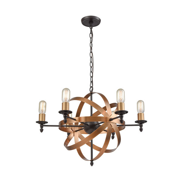 Kingston Oil Rubbed Bronze and Brushed Antique Brass Six-Light Chandelier, image 1