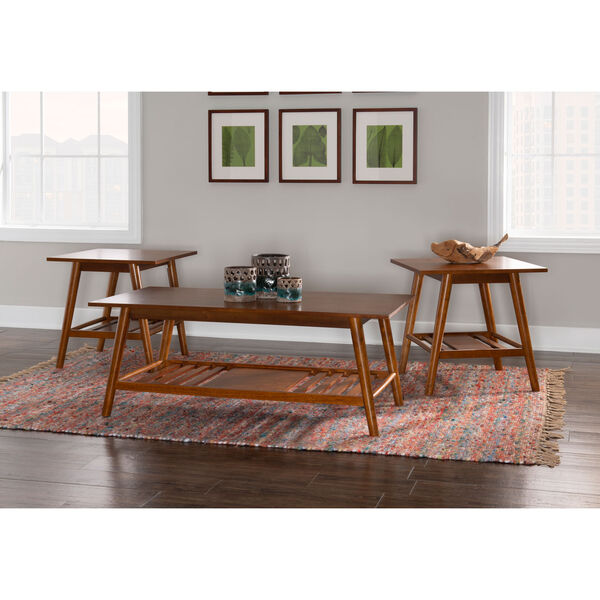 Emma Walnut Coffee Table and End Table, Three Piece, image 1