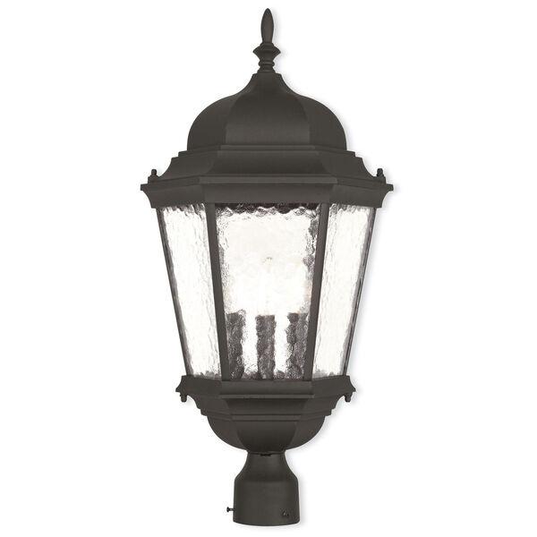 Hamilton Textured Black 12.5-Inch Three-Light Outdoor Post Lantern, image 1