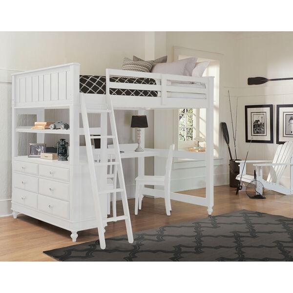Lake House White Full Loft with Desk, image 1