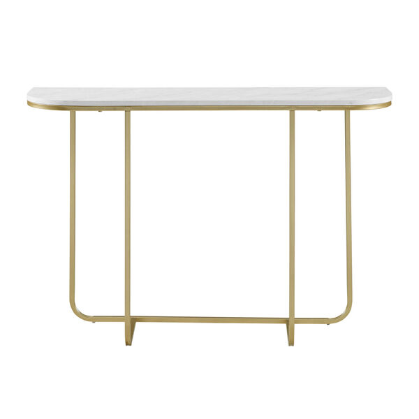 White Faux and Gold 44-Inch Curved Entry Table, image 1