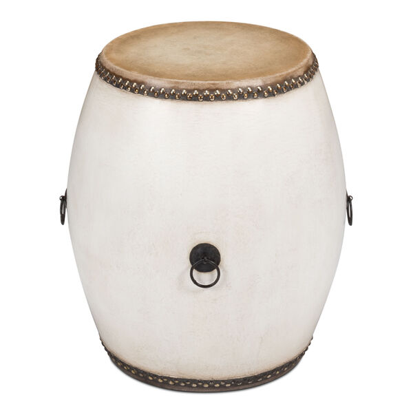 White Drum End Table, image 1