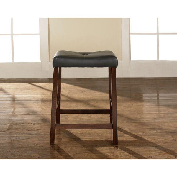 Upholstered Saddle Seat Bar Stool in Vintage Mahogany Finish with 24 Inch Seat Height- Set of Two, image 4