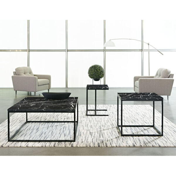 Julien Black Base Chairside Table with Black Marble Top, image 2