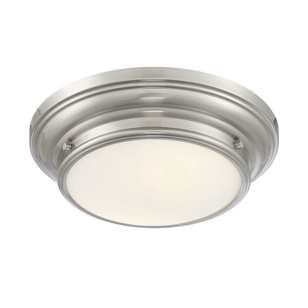 Whittier Brushed Nickel Two-Light Flush Mount with Round Glass, image 4
