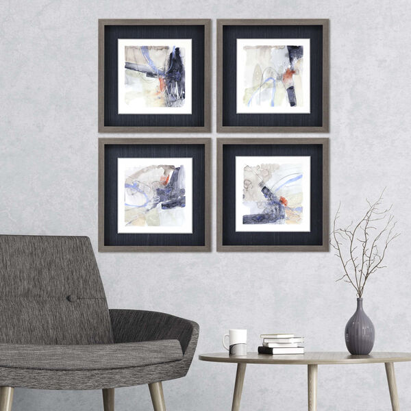 Blue 19 H x 19 W-Inch Abstract Coordinates Wall Art, Set of 4, image 1