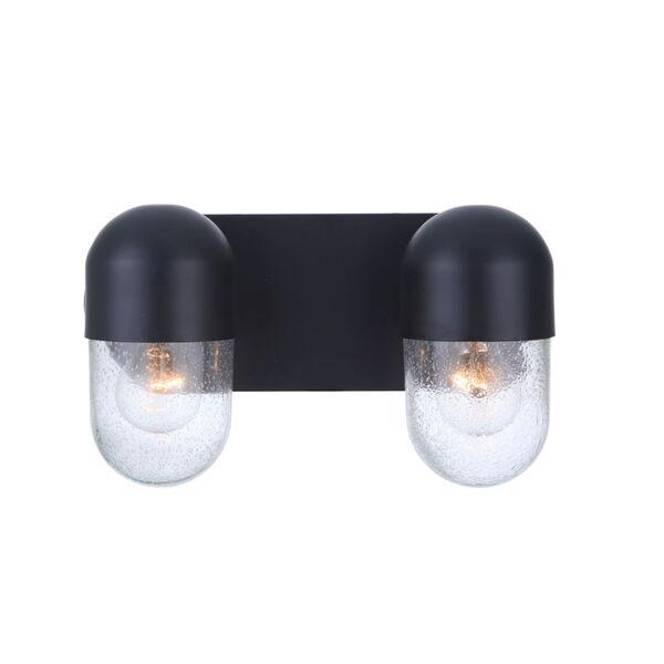 Pill Flat Black Two-Light Vanity Light, image 2