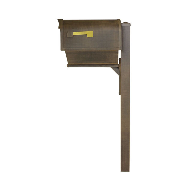 Classic Curbside Copper Mailbox with Newspaper Tube and Wellington Mailbox Post, image 4