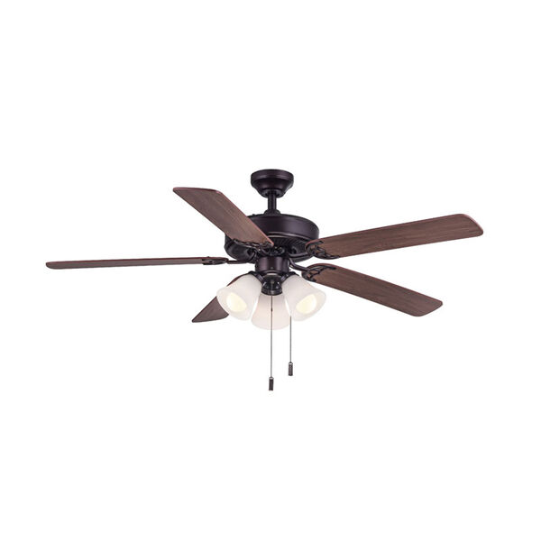 Dalton Oil Rubbed Bronze 52-Inch Three-Light LED Ceiling Fan, image 1