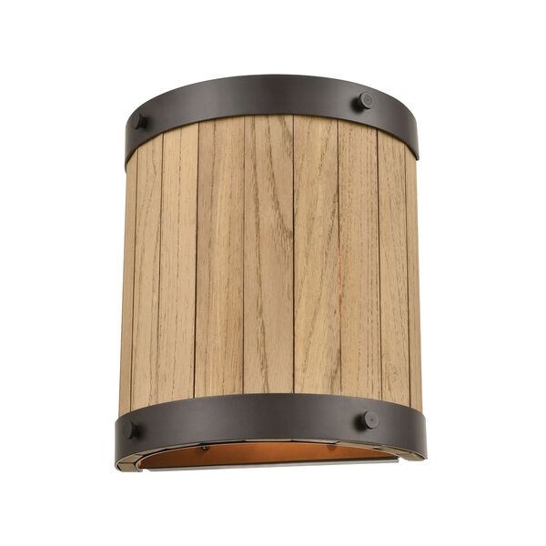 Wooden Barrel Oil Rubbed Bronze and Natural Wood Two-Light Wall Sconce, image 1
