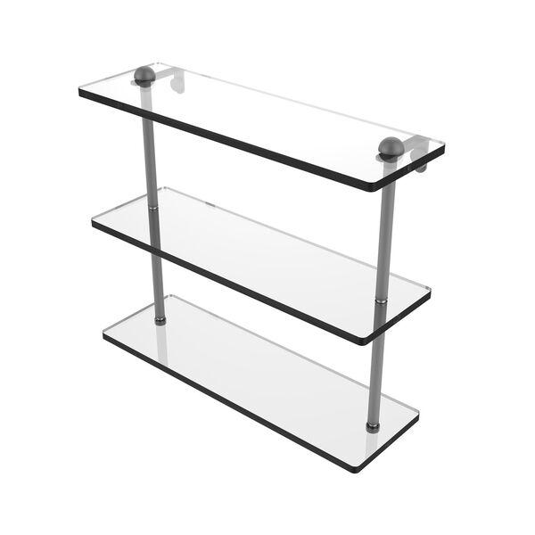 Matte Gray 16-Inch Triple Tiered Glass Shelf, image 1