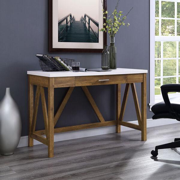 46-Inch A-Frame Desk, Natural Walnut Base/White Marble Top, image 4
