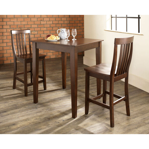 Three Piece Pub Dining Set with Tapered Leg and School House Stools in Vintage Mahogany Finish, image 3