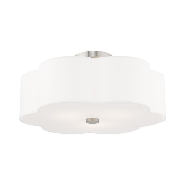 Chelsea Brushed Nickel 18-Inch Three-Light Ceiling Mount with Hand Crafted Off-White Hardback Shade, image 4