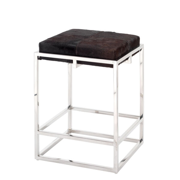 Shelby Espresso Hide and Nickel Metal Counter Stool, image 1