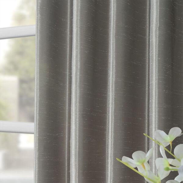 Silver Vintage Textured Faux Dupioni Silk Single Panel Curtain, 50 X 84, image 8