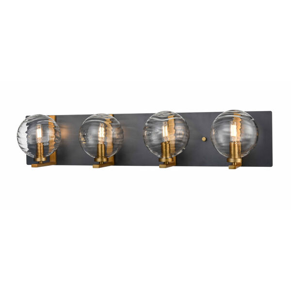 Tropea Brass and Graphite Four-Light Bath Vanity with Ripple Glass, image 1