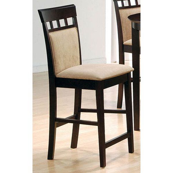 24-Inch Upholstered Panel Back Bar Stool with Fabric Seat, image 1
