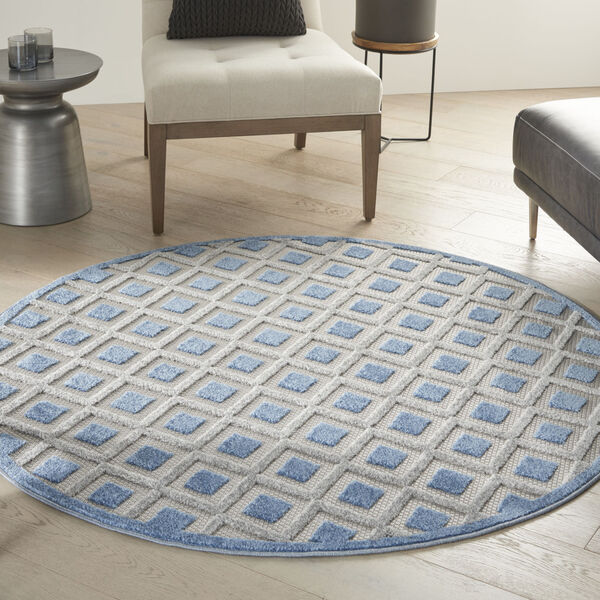 Aloha Blue and Gray 5 Ft. 3 In. x 5 Ft. 3 In. Round Indoor/Outdoor Area Rug, image 1