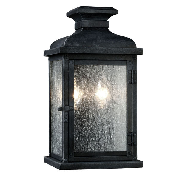 Pediment Dark Weathered Zinc Two-Light 13-Inch Outdoor Wall Sconce, image 1