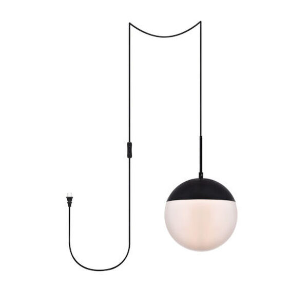 Eclipse Black and Frosted White 10-Inch One-Light Plug-In Pendant, image 1