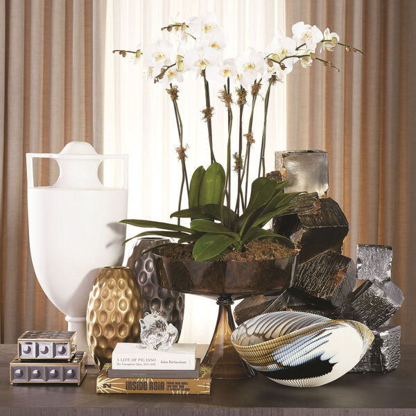 Black and Gold 12-Inch Faux Pyrite Vase, image 3