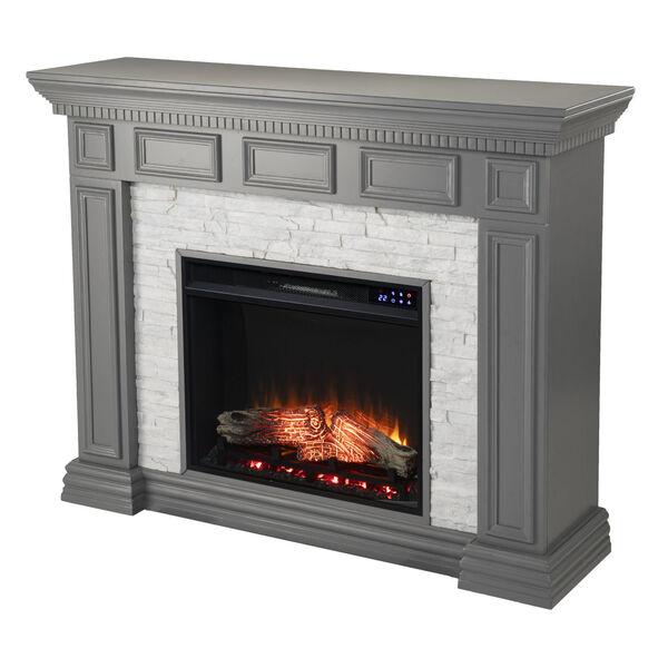 Dakesbury Gray Faux Stone Electric Fireplace, image 5